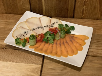 Carpaccio from slightly salted salmon and oily fish