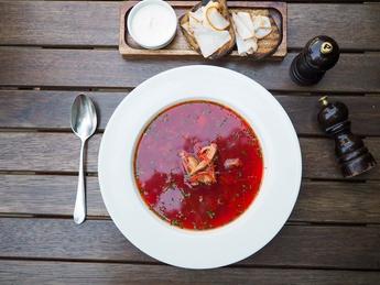 Red Borscht with duck