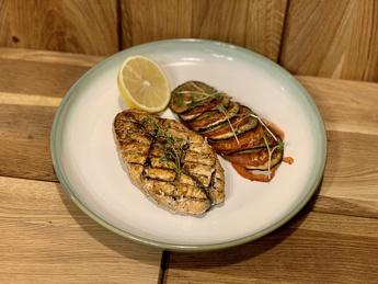 Salmon steak with vegetable ratatouille