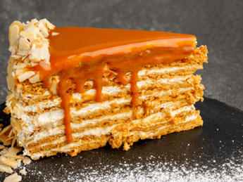 Honey cake with caramel