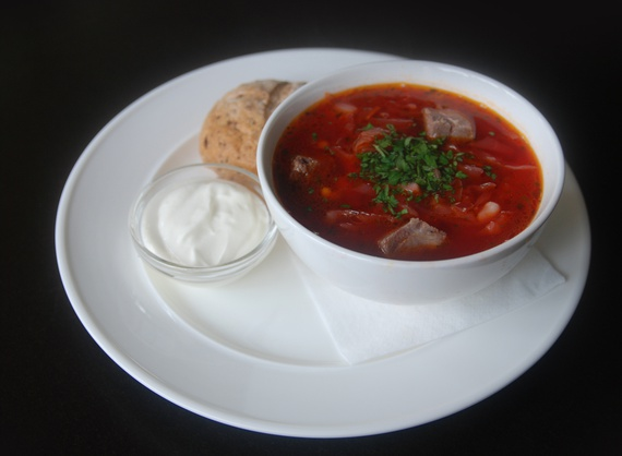 Traditional borsch with beef