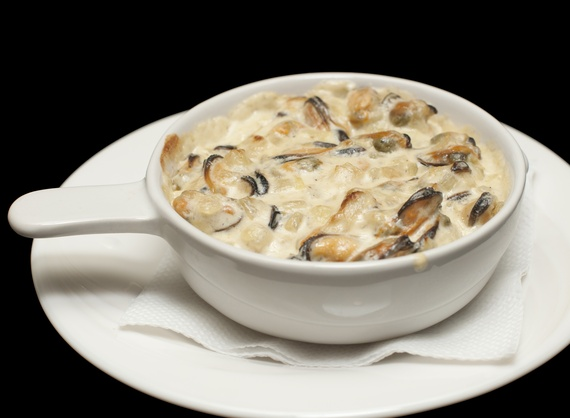 Mussels baked in a creamy sauce