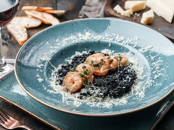 Black risotto with shrimps