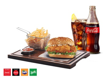 Boston Chicken Burger + French fries + Drink