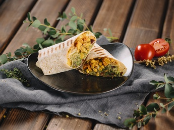 Wrap with feta cheese and tapenada