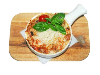 Lasagna with chicken and mushrooms