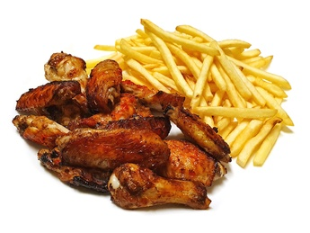 Baked wings with french fries