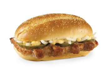 Sandwich with pork and horseradish sauce