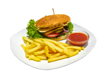 Pork Burger with french fries