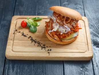 Pulled pork in crispy bun and coleslaw