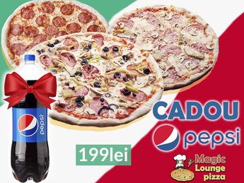 3 pizza  for 199 lei + gift