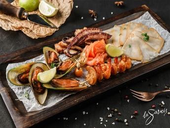 Smoked seafood plate
