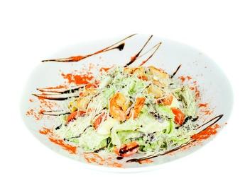 "Salad ""Caesar with tiger shrimps"""