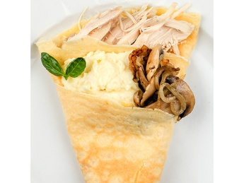 Pancake with chicken and mashed potatoes