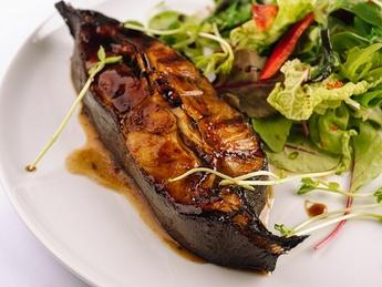 Grilled Halibut with Teriyaki Sauce with Green Salad