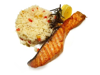 Salmon with rice and vegetables