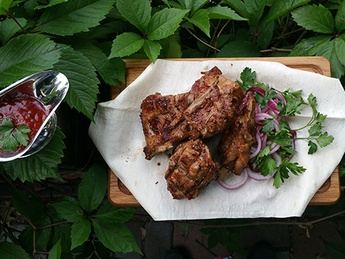 Chopped lamb on the grill