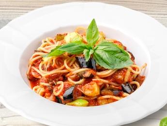 Спагетти с овощами (постное)