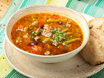 Vegetable soup with veal