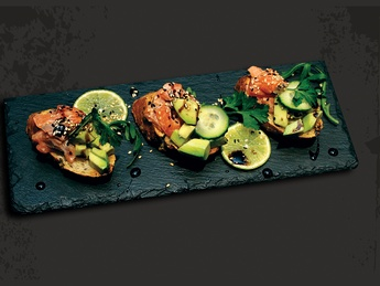 Bruschetta with salmon and avocado tartare