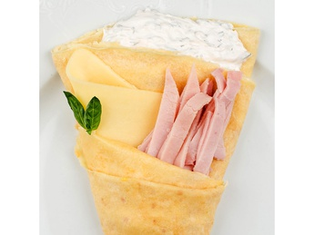 Pancake with ham and cheese