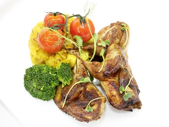 Quail with potato gratin