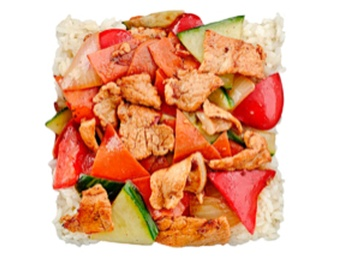 Steam rice with veal and vegetables hot [34]