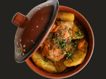 Turkey meat with potatoes in the pot