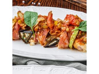 Chicken fillet with baked vegetables