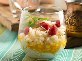 Chia pudding with passionfruit sauce
