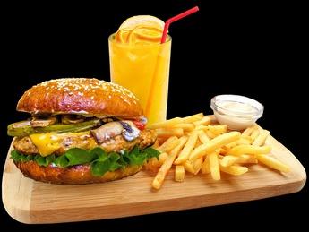 Combo chicken cheese burger
