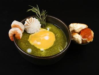 Shrimp spinach cream soup
