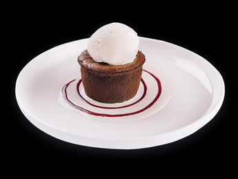 Chocolate fondant with ice cream