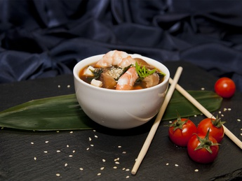 Miso soup with shrimp