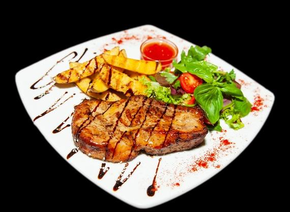 Pork steak with BBQ sauce