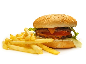 Double chicken burger with french fries