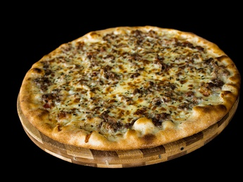 Pizza with BIG beef chop