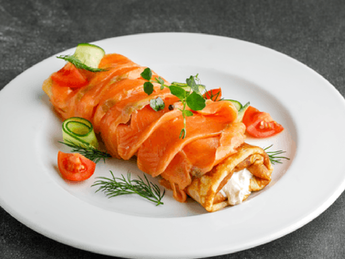 Pancake with salmon