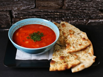 Tomato soup with smoked meats