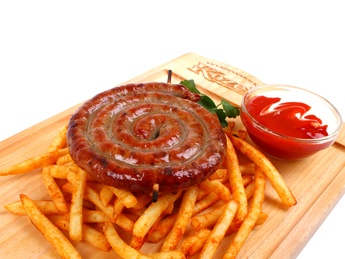 Grilled beef sausages with  french fries