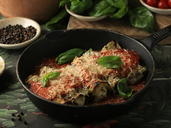 Eggplant with ricotta in tomato sauce
