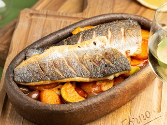 Sea bass with vegetable saute