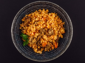 Bulgur with lamb liver