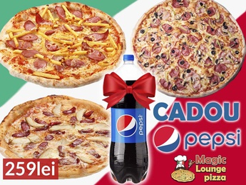 3 Pizza cu 1l Coca Cola!