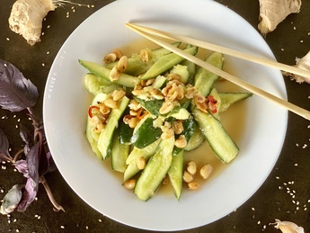 Beaten cucumbers in spicy sauce